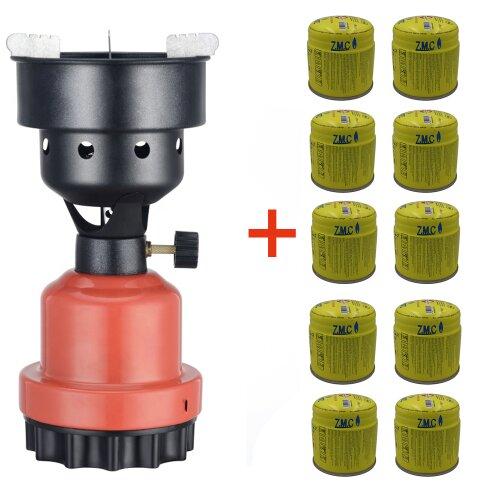 Campingkocher Shisha Kohleanzünder Grillanzünder Gaskocher + 10x Gaskartuschen Rot