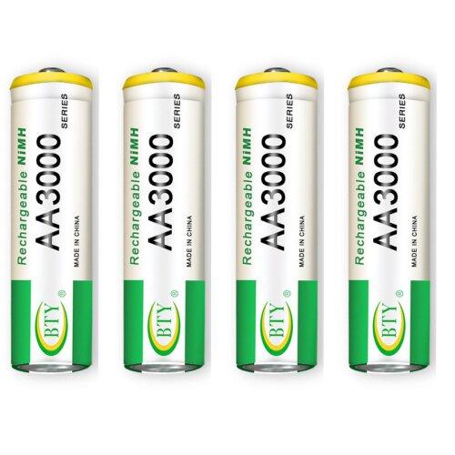 BTY Wiederaufladbare Wiederaufladbar Akku Batterien Batterie Accu AA 3000 mAh 1 X 4er Blister