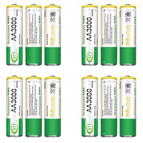 BTY Wiederaufladbare Wiederaufladbar Akku Batterien Batterie Accu AA 3000 mAh 3 X 4er Blister