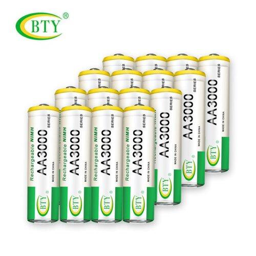 BTY Wiederaufladbare Wiederaufladbar Akku Batterien Batterie Accu AA 3000 mAh 5 X 4er Blister