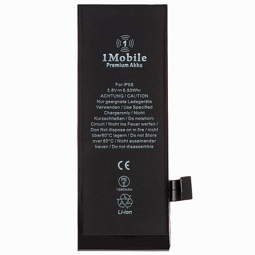 (1Mobile) Akku Für iPhone 5S Battery (A1453, A1457, A1518, A1528, A1530) 1560mAh (Produktion 2019)