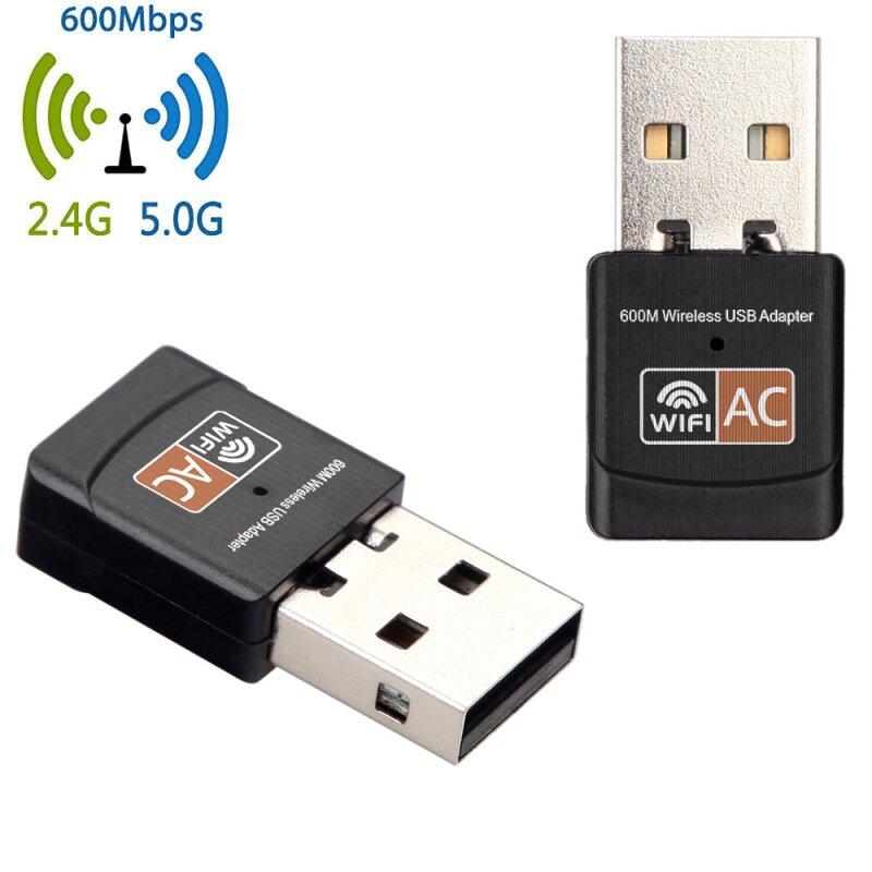 Fabriksnye AC 600 Mbps Mbit/s WLAN WIFI Adapter Stick dual band 2.4GHz / 5GHz UH-94