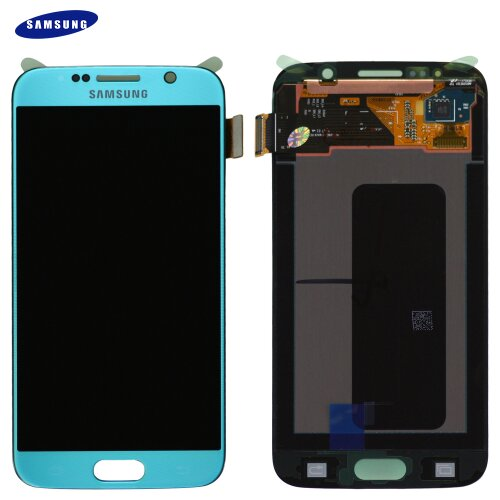 Samsung Galaxy S6 G920F LCD Display Touch Screen Bildschirm Blau Topaz GH97-17260D