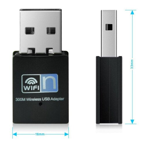 300 Mbps Mbit/s WLAN WIFI Adapter Stick 2.4GHz (kompatibel zu Windows 8.1/8/10//7/XP/Vista, Mac OS, Linux )
