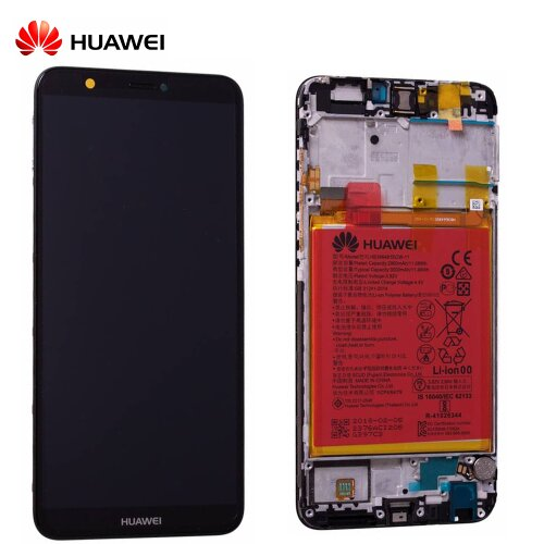 Original Huawei P Smart 2018 LCD Display Touch Screen Bildschirm Rahmen mit Akku Schwarz