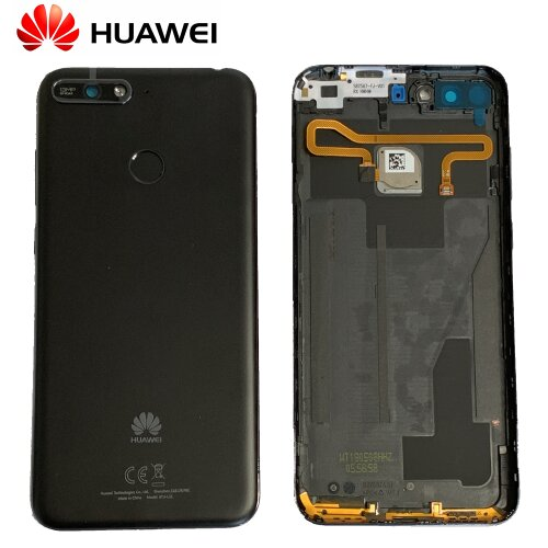 Original Huawei Y6 Prime 2018 Akkudeckel Battery Cover Backcover mit Fingerprint Schwarz 97070TYG