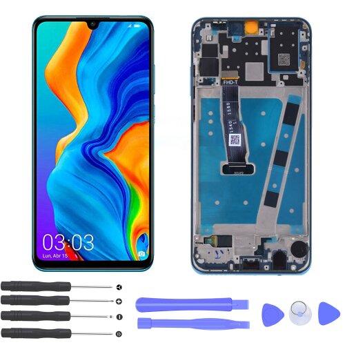 Huawei P30 Lite LCD Display Bildschirm Glas Scheibe Touch Screen Rahmen Blau