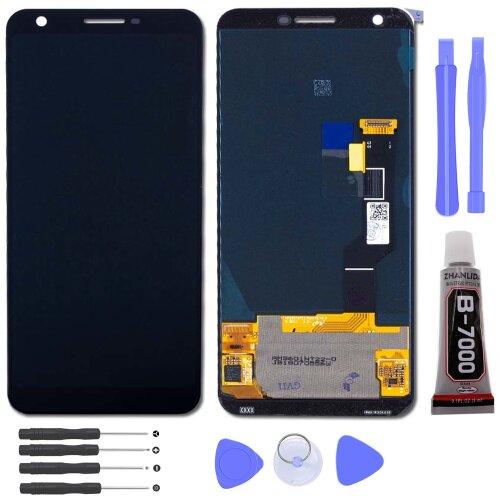 Google Pixel 3a XL LCD Display Bildschirm Glas Scheibe Touch Screen Schwarz