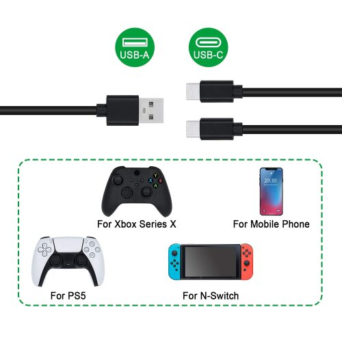 3m 2in1 USB-C Ladekabel für Sony Playstation PS5 / Xbox Serie X / Nintendo Switch Controller